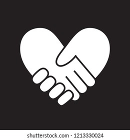 Handshake in form of heart on black background.Vector illustration