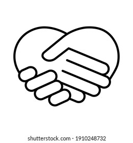 Handshake in the form of heart vector outline icon on white background, valentine's day icon
