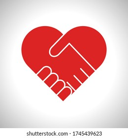 Handshake forming a red heart. Symbol of kindness, donation and charity. Vector illustration