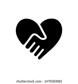 Handshake Forms The Heart Icon Vector Image and Illustration