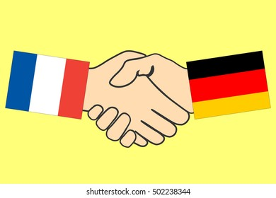 Handshake with France and Germany flag, Handshake icon, business agreement handshake, vector illustration.