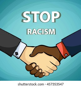Handshake of friends. Stop racism. Stock vector illustration.