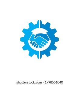 handshake gear logo , business logo