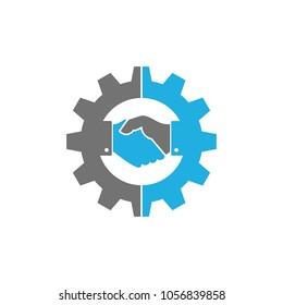 Handshake Gear Logo Icon Design