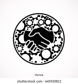 Handshake, gears. Flat design illustration concepts for business process.