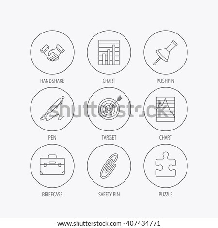 Handshake Graph Charts Target Icons Puzzle Stock Vector Royalty