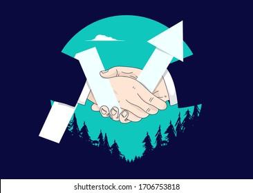 グラフとハンドシェイク:2つの手が取引の上で揺れ、上向きの矢印が成長を示します。チームワーク、プロのパートナー、ビジネスの成功と合意のコンセプト。ベクターイラスト。