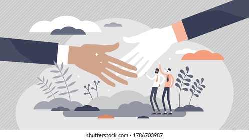 Handshake greeting as business deal communication flat tiny person concept. Partner successful agreement gesture vector illustration. Relationship or trust approval with hands connection process scene