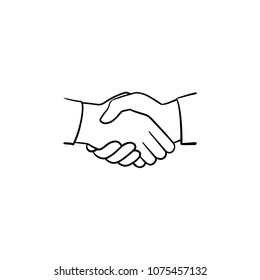 Handshake hand drawn outline doodle icon. Sketch illustration of handshake for print, web, mobile and infographics isolated on white background. Business deal, team and cooperation concept.