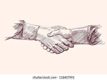 Handshake. Hand drawn sketch