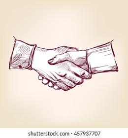 Handshake hand drawn vector llustration realistic sketch