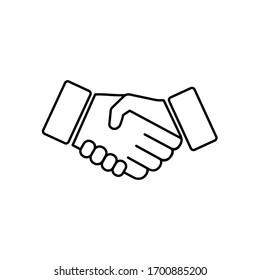 Handshake, hands, partnership icon vector logo design black symbol isolated on white background. Vector EPS 10.