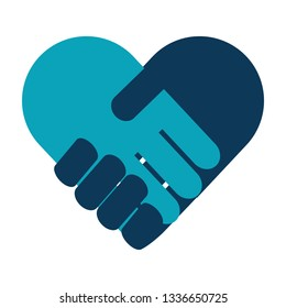 handshake in heart icon