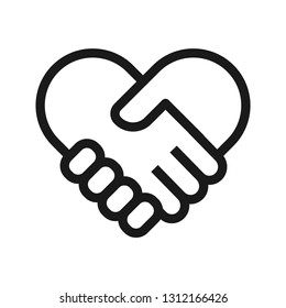 Handshake heart icon. Stroke outline style. Line vector. Isolate on white background.