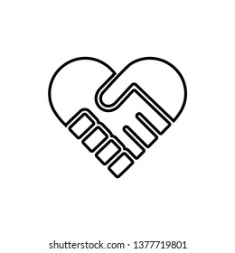 Handshake Heart Icon Vector