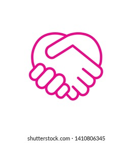 handshake heart icon vector illustration