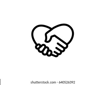Handshake Heart Love Icon