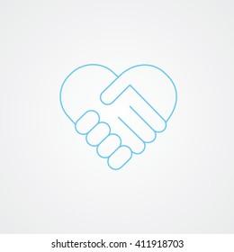 handshake. Heart symbol. Vector illustration