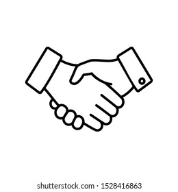 Handshake icon, black on a white background, isolated vector illustration eps.