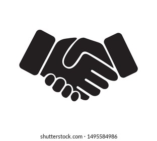 Handshake Icon, Black and White Vector Design