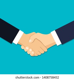 Handshake icon of business partners, shake hands, agreement, good deal, partnership concepts in flat style vector illustration. EPS 10