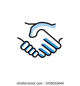 Handshake icon. deal, partner, Business symbol. Two Tone line colored Design. the icon can be used for application icon, web icon, infographics, Editable stroke. Design template vector