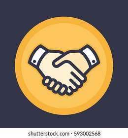 handshake icon, deal, partnership, shaking hands, agreement vector pictogram in flat style with outline