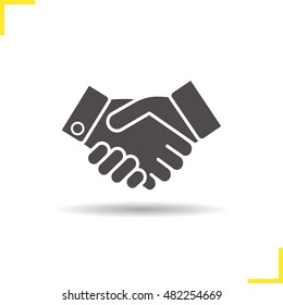 Handshake icon. Drop shadow partnership silhouette symbol. Business agreement. Vector isolated illustration