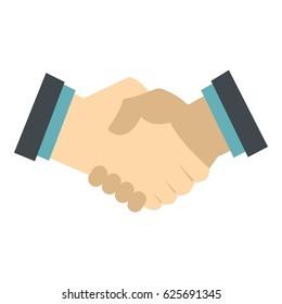 Handshake icon. Flat illustration of handshake vector icon isolated on white background for any design