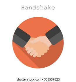 Handshake icon flat style