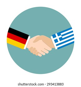 Handshake icon. Germany flag and Greece flag as politics and negotiation concept.