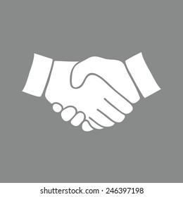 handshake icon. The illustration on gray background.