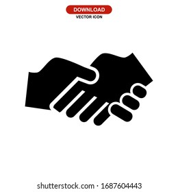 handshake icon or logo isolated sign symbol vector illustration - high quality black style vector icons