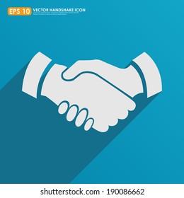 Handshake icon on blue background