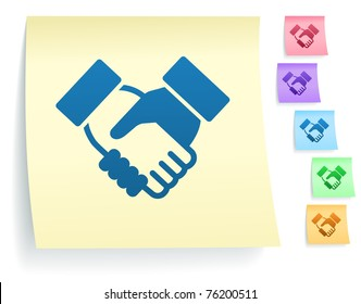 Handshake Icon on Post It Note Paper Collection Original Illustration