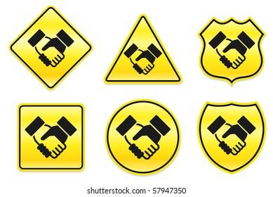 Handshake Icon on Yellow Designs Original Illustration