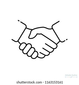 Handshake icon, Outline icon, deal, contract agreement, Business proposal acceptance, partnership, success, teamwork