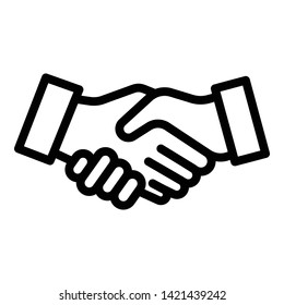 Handshake icon. Outline handshake vector icon for web design isolated on white background