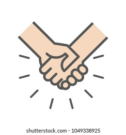 Handshake icon. Shaking hands with abstract rays. Success business concept. Vector illustration, flat design