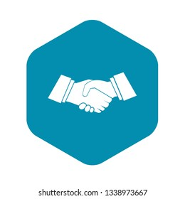 Handshake icon in simple style isolated on white background