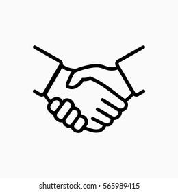 Handshake icon simple vector illustration. Deal or partner agreement symbol. Hands meeting image.