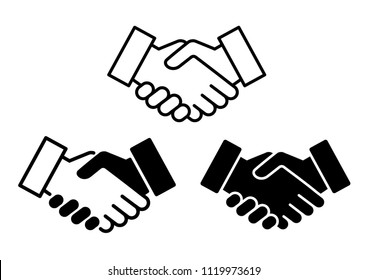 Handshake icon symbol set, Successful business partnership concept, Simple flat design isolated on white background, Vector illustration
