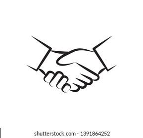 Handshake icon vector  ,Agreement sign illustration