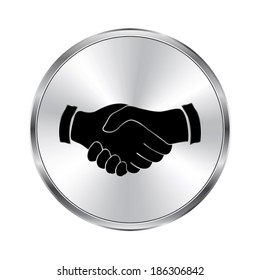 handshake icon - vector brushed metal button