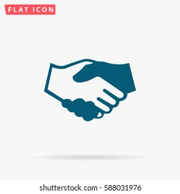Handshake Icon Vector. Flat simple Blue pictogram on white background. Illustration symbol with shadow