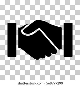 Handshake icon. Vector illustration style is flat iconic symbol, black color, transparent background. Designed for web and software interfaces.