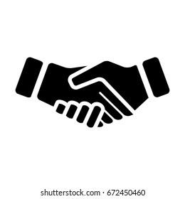 Handshake Icon Vector Symbol in Glyph Pictogram illustration