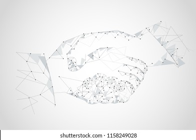 Handshake isolated on gray background. Handshake for web site,poster,placard and greeting card. Useful for contract agreement and presentation material. Creative art concept, vector illustration