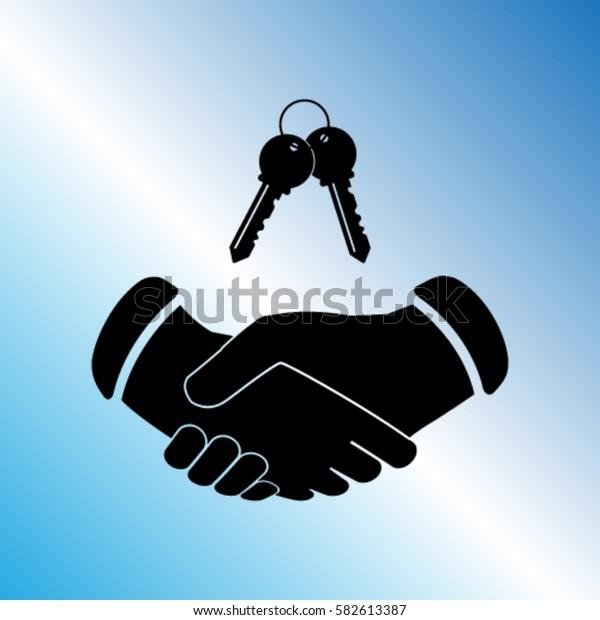 Handshake and the keys vector icon