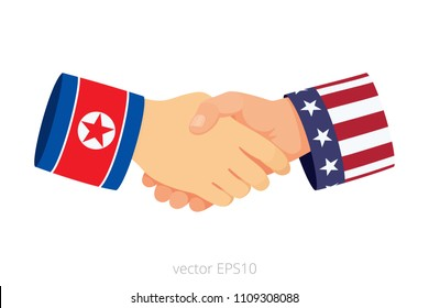 Handshake of Korean and American political leaders. Isolated vector icon of meeting and talks between North Korea and USA. Two hands of eastern and western politicians. Sleeves are decorated by flags.